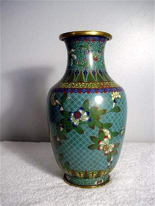 021: Green Cloisonne Vase 1862-1874. Overall blue flora