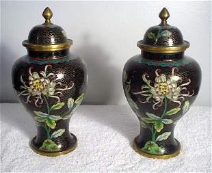 022: Pair of Black Cloisonne Covered Jars 1862-1874. La