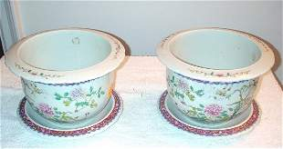 Pair of white planters with liners - flower and
