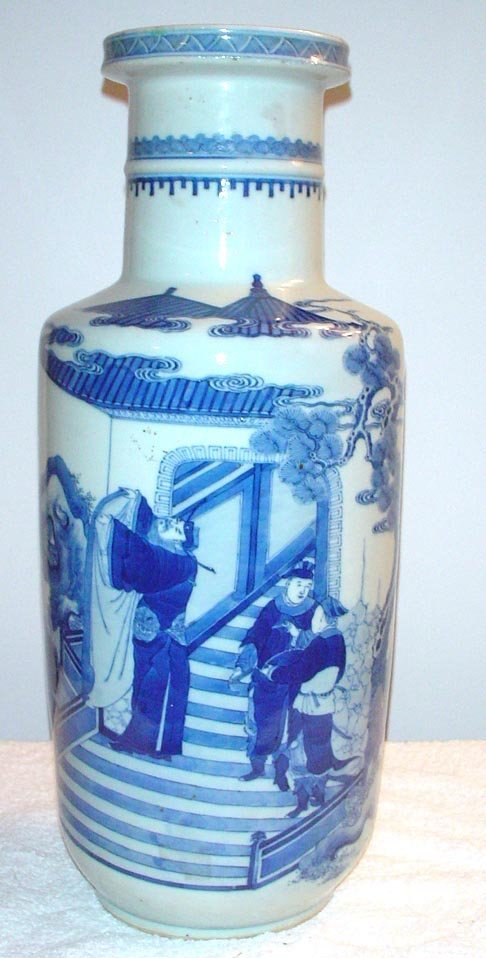1003: Blue and White Club Shaped vase with figures on s