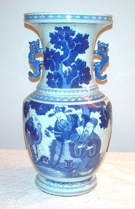 1004: Blue and White Chinese Porcelain Vase with Dragon