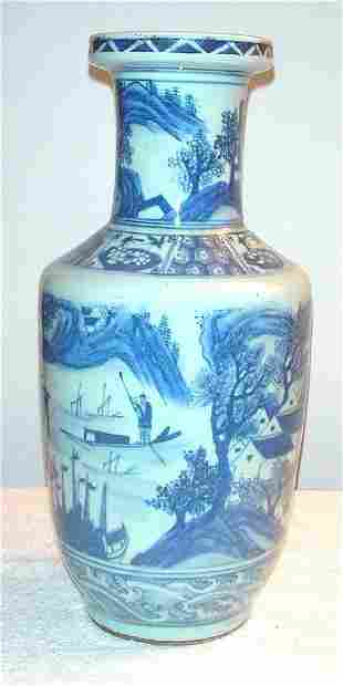 Blue and White Vase with Scenic Village and Templ