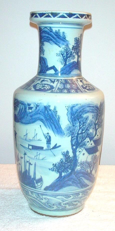 1006: Blue and White Vase with Scenic Village and Templ