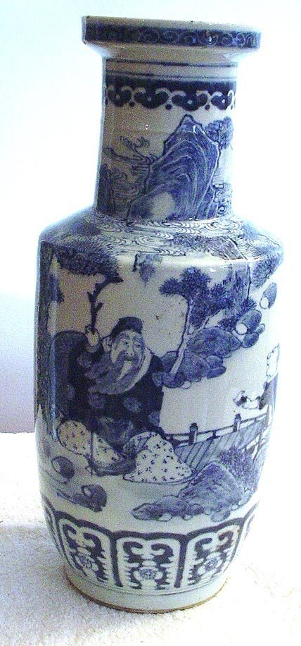 1007: Blue and White Vase with philosopher and child. 1