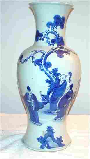 """Blue and White Vase with 3 Figures. 18"""" High. Ta"""