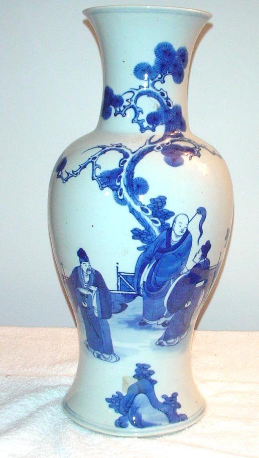 """1009: Blue and White Vase with 3 Figures.  18"""" High. Ta"""