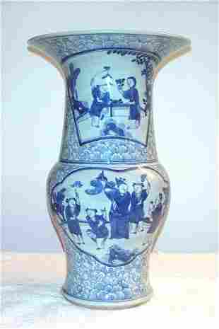 Blue and White Beaker Shaped Vase with figure pan