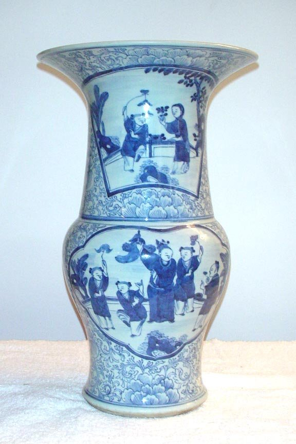 1010: Blue and White Beaker Shaped Vase with figure pan