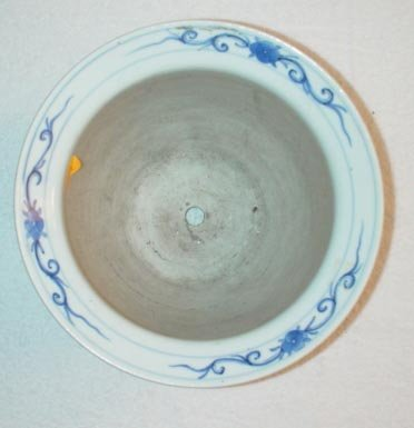 1011: Blue and White Floral Planter with bird design.
