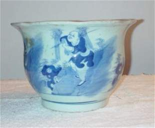 Blue and White Planter with Scalloped Lip and fig