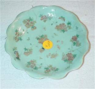 Scalloped Celadon Dish with floral and butterfly