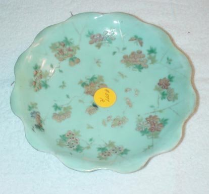 1015: Scalloped Celadon Dish with floral and butterfly
