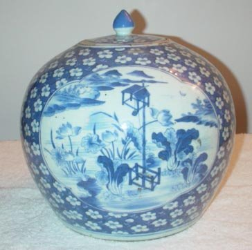 1019: Blue and White Jar with prunis floral design and