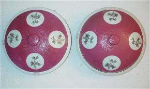 Pair of Rose Graviatti Covered Bowls with floral
