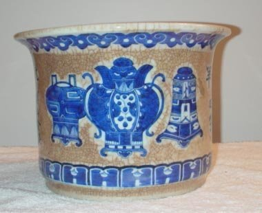 1023: Beige and Blue Crackle Cache-Pot/ Planter with ho