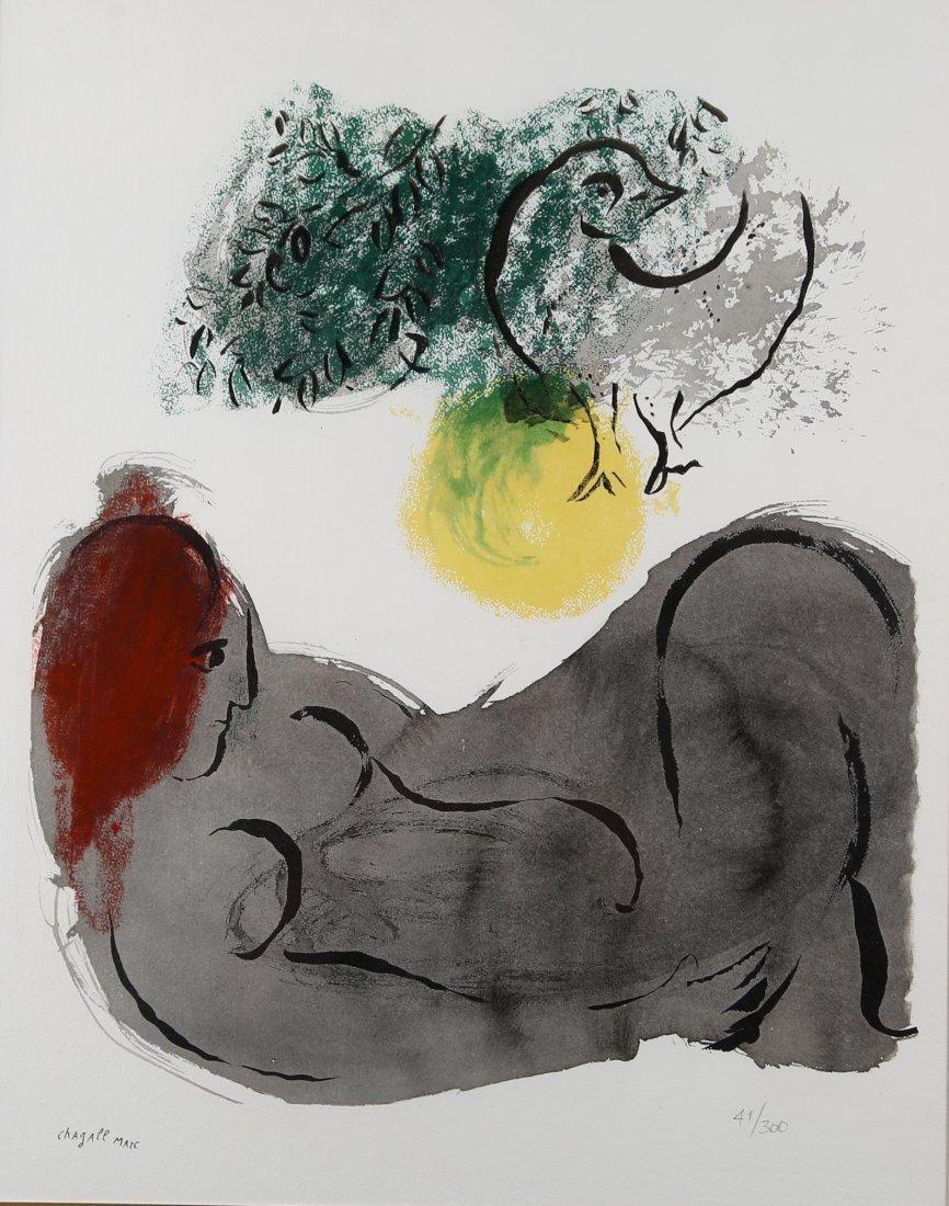 Marc Chagall - 'Nua L'Oiseau' , Couleur Amour