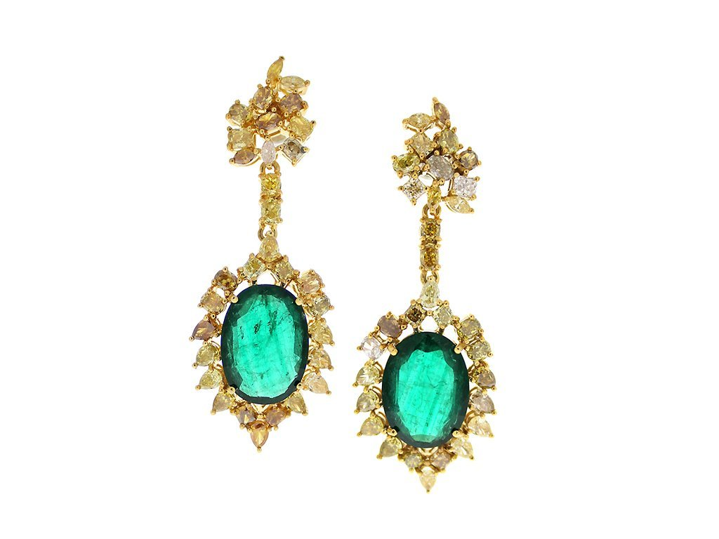 18KT   9.23 Ct  Diamond and 16.94 Ct Emerald Earrings