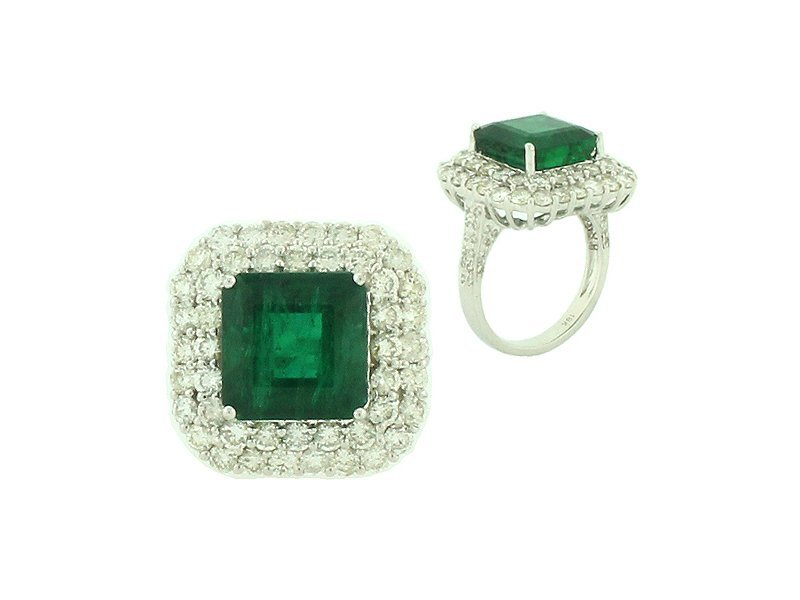 18KT GOLD 8.5 CT EMERALD  2.73 CTS  DIAMOND RING