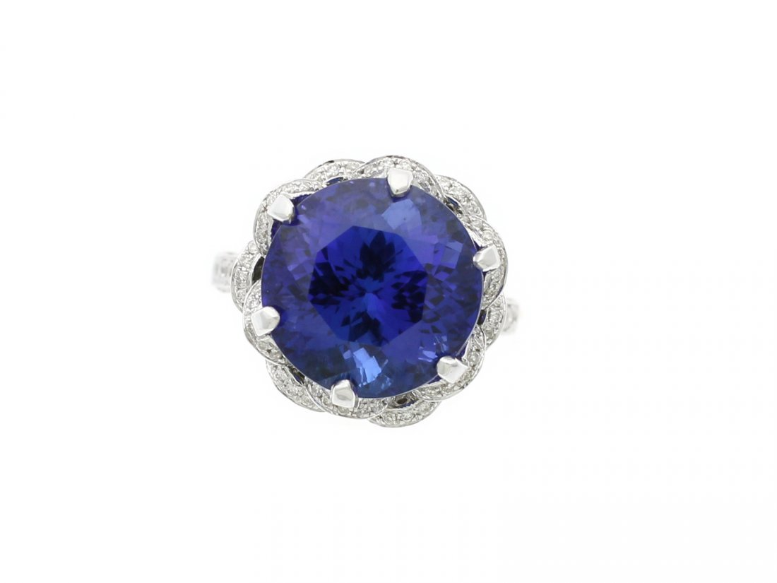 14.30 Ct Tanzanite 18kt Gold Art Nouveau Diamond Ring