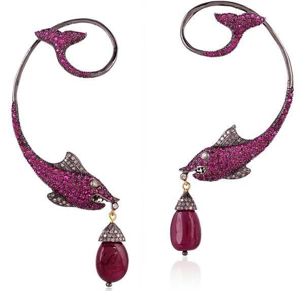24.18 CT RUBY AND DIAMOND FISH DROP EARRINGS