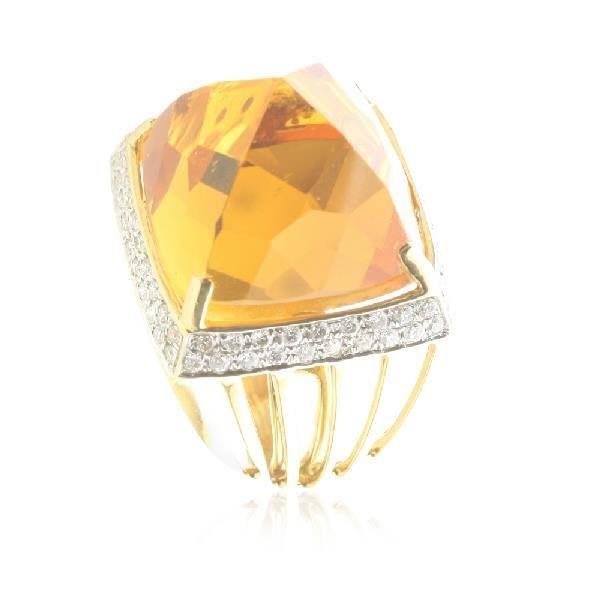 MODERNIST CITRINE AND DIAMOND DOME 18KT ROSE GOLD RING