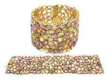 18KT GOLD 300 CT Multi Color Sapphire Diamond Braclet