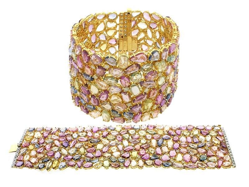 18KT GOLD 300 CT Multi Color Sapphire Diamond Braclet