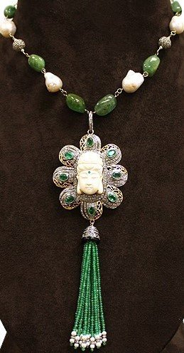 Emerald Cultured Pearl Buddha Tassel Sautior Necklace