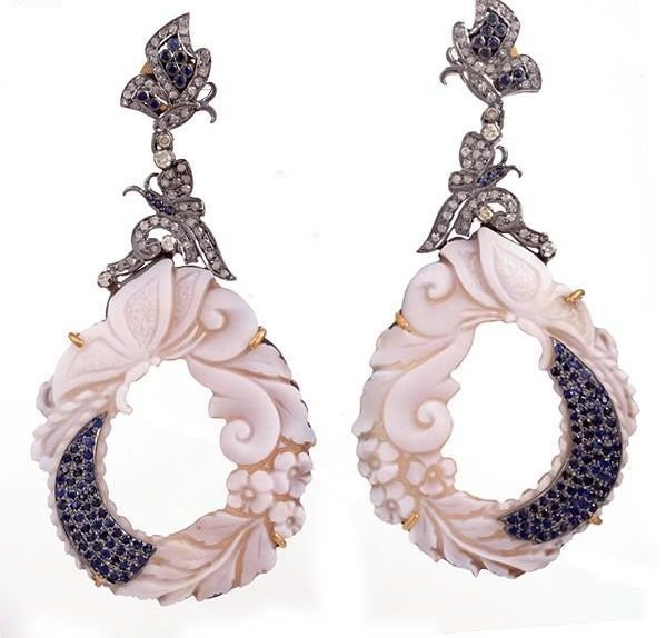 Sapphire Diamond Carving Earrings