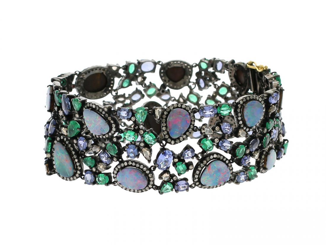 18kt Opal Emerald Sapphire And Diamond Bracelet