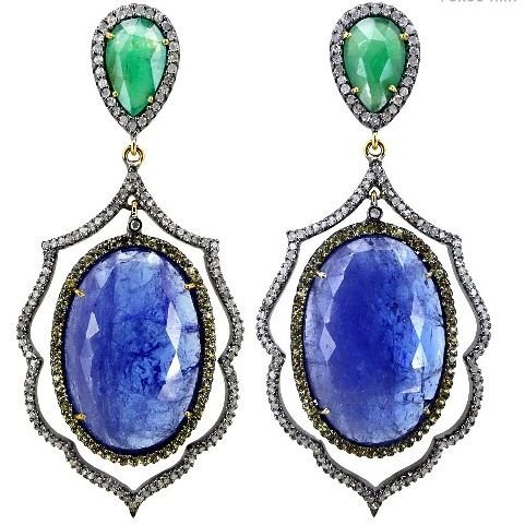 Emerald Diamond Tanzanite Earrings