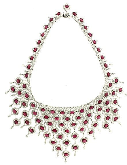 MAGNIFICENT 76 CT RUBY 39 CT  DIAMOND 18KT  NECKLACE