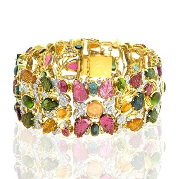 18kt Gold Mulit Tourmaline Diamond Bangle