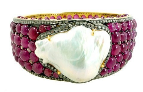 Ruby Cabochon Baroque Pearl Diamond Bangle