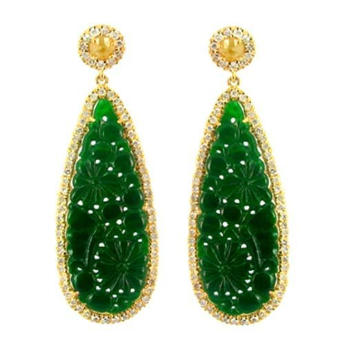 18KT GOLD NATURAL JADE AND DIAMOND EARRINGS