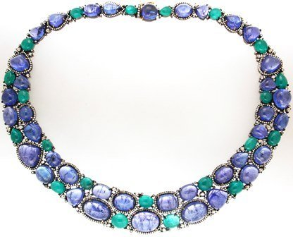 301 Ct  Emerald Tanzanite 11.8 Ct Diamond Necklace