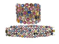 150CT Sapphire And 12.63 CT Diamond Statement Bracelet