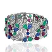 18kt White Gold 48 Carat Emerald Ruby Diamond Bracelet