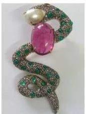 Emerald Pearl Tourmaline Snake Brooch