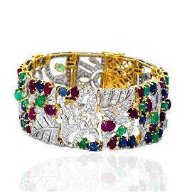 Diamond 18kt Gold Sapphire Ruby And Emerald Bangle