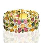 18kt Gold Multi Tourmaline Diamond Bangle