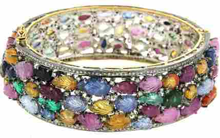 18KT Gold Carved Sapphire Diamond Bangle Braclelet