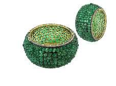 18KT Gold 134 Carat Emerald Cabochon Diamond Bangle