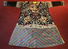Qing Dynasty A Blue Silk Embroidered Dragon Robe