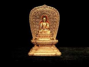 Ming Yongle Period Gilt-Bronze of Sakyamuni Figure