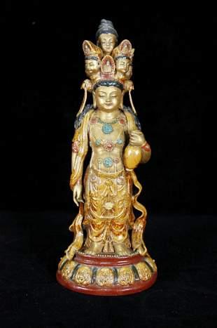 Qing Dynasty Porcelain Gilt Figure Of Guanyin