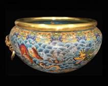 Rare Qing Dynasty Qianlong Cloisonne 'Dragon' Pot