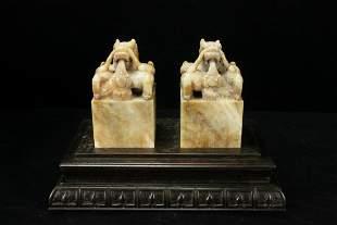Qing Dynasty PR of Jade Dragon Seal w/ Wood Case