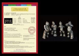 Rare Han Dynasty Silver & Bronze Set of Four Figures