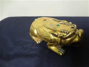 Tang Dynasty Gilt Bronze Mythical Animal Ink Box